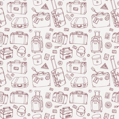 Suitcases. Seamless background.