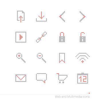 Internet pixel icons set