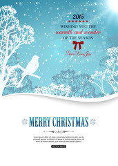 Merry christmas background with winter landscape and place for