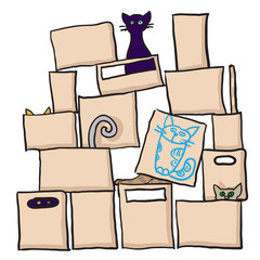 Cats and boxes. Vector illustration