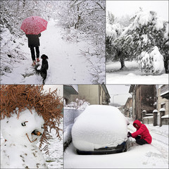 Winter snow scenes, daily life - snowchains, snowman, walking..