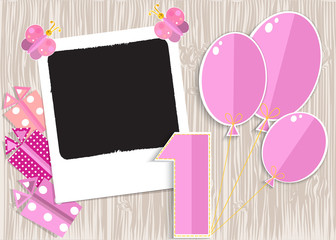 Greeting card for girl in wooden background. Vector EPS10.