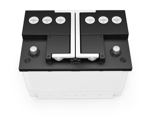 Car battery on white background.