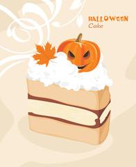 Halloween cake on the decorative background