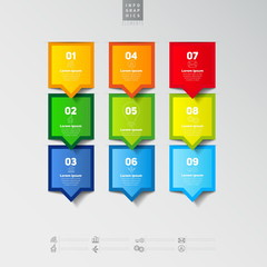 Modern infographics options banner with realistic colorful ribbo