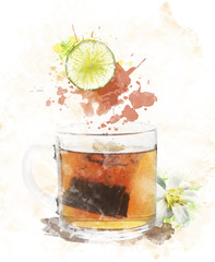 Watercolor Image Of  Tea