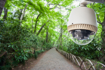 CCTV camera or surveillance operating in park or green garden
