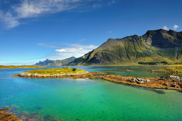 Wall Mural - Norwegia , lofoty, krajobraz wiejski