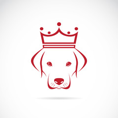 Vector image of a dog head wearing a crown