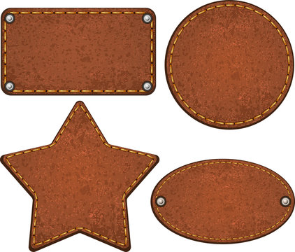 Set of leather labels. Vector illustration