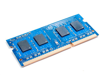 electronic circuit board with processor isolate on white backgro