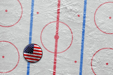 American hockey puck on the site