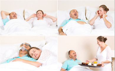 Managment of sleeping apnea, man with CPAP machine