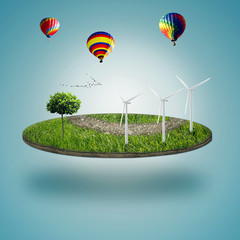 micro world, green earth with wind energy turbines installed