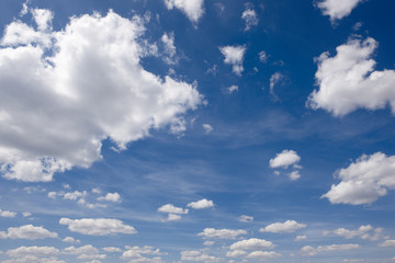 Clean blue sky and white clouds
