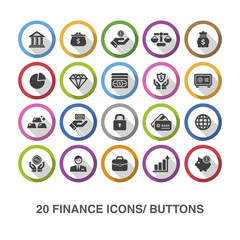 Finance flat icons/ buttons with shadow.