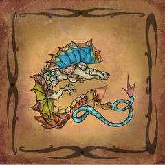 Dragon on manuscript
