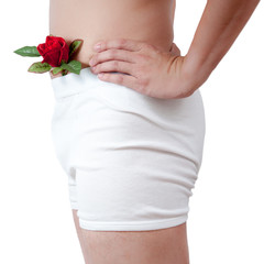 close up of man on white boxer underware  with rose pop out isol