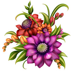 autumn colorful flowers arrangement, illustration