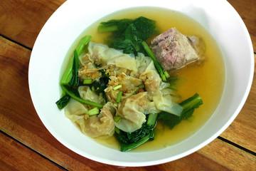 Hot dumpling in the soup