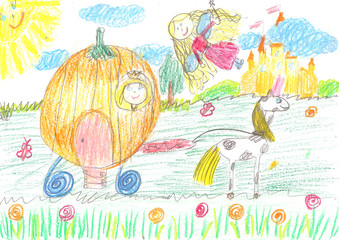 Child's drawing fairy of a tale