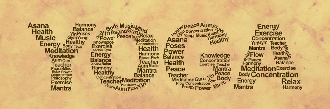 Yoga Wordcloud Grunge
