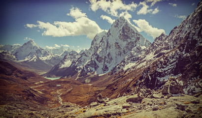 Retro vintage filtered picture of Himalaya mountains landscape,