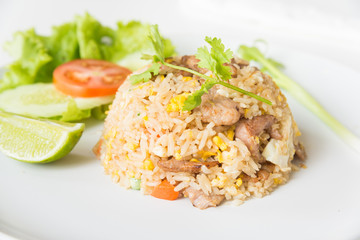 Pork fried rice with egg thai style.