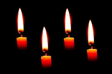 Four Candle on black background