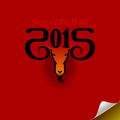 The year of goat (Red Background)