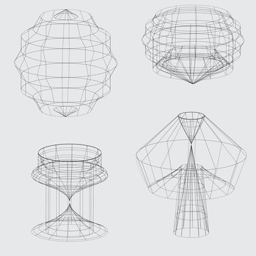 Wireframe of various shapes on grey background