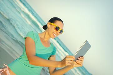 Girl photographs selfie