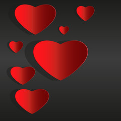 Red paper hearts Valentines day card on black background vector