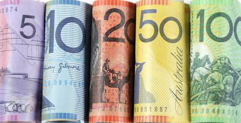 Rolls of Australian cash money
