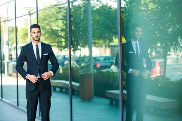 elegant businessman standing outside