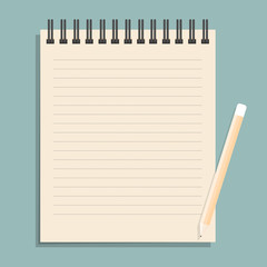Brown notebook with dotted lines can shred and pencil. vector il