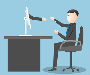 Hand holding businessman shake hands concept comes from screen o