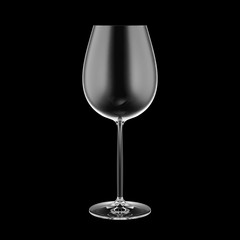 Empty wine glass isolated on black background.