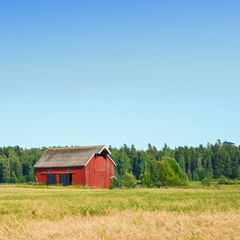 Beautiful nordic red house against the blue sky