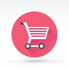 Flat style with long shadows, shopping cart vector icon