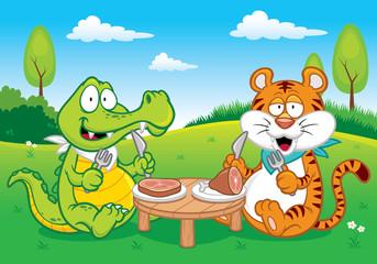 Photo sur Plexiglas Dinosaurs Vector illustration of Cartoon crocodile and tiger eating