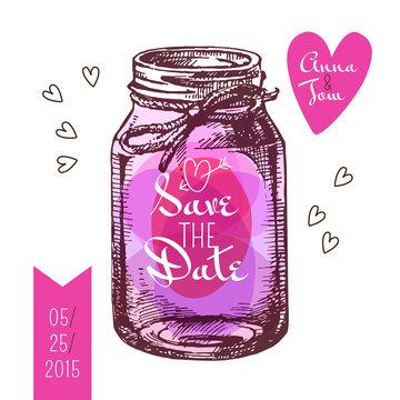 Save the date card. Wedding invitation. Rustic mason jar.