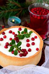 White chocolate cheesecake tart with cranberries