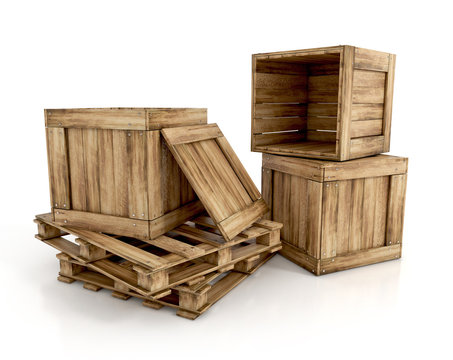 wooden crates isolated on white background. on pallets