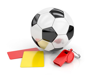 football (soccer ball), whistle and red and yellow cards