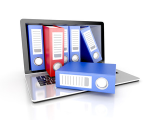 files in database - laptop with ring binders. 3d illustration