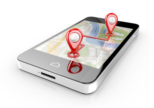 smart phone navigation - mobile gps 3d illustration