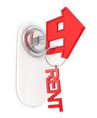 key in shape of house with rent shape fob, in keyhole isolated