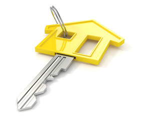 yellow house key. 3d illustration