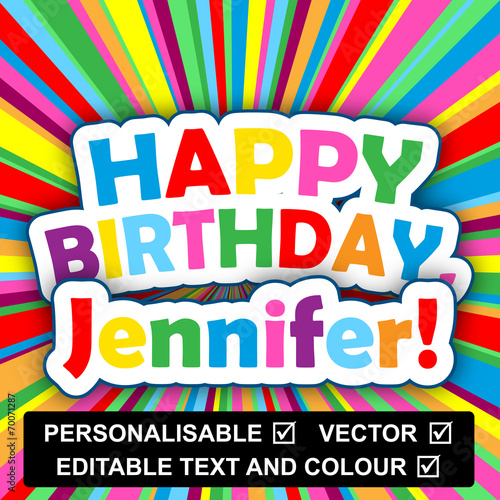 Happy Birthday Card Personalisable Text Name Insert Your Own